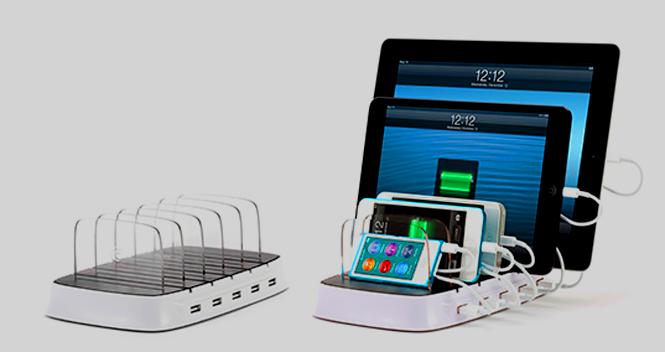 يحتوي الشاحن باور دوك 5 خمسة منافذ يو إس بي لشحن خمسة أجهزة دفعة واحدة