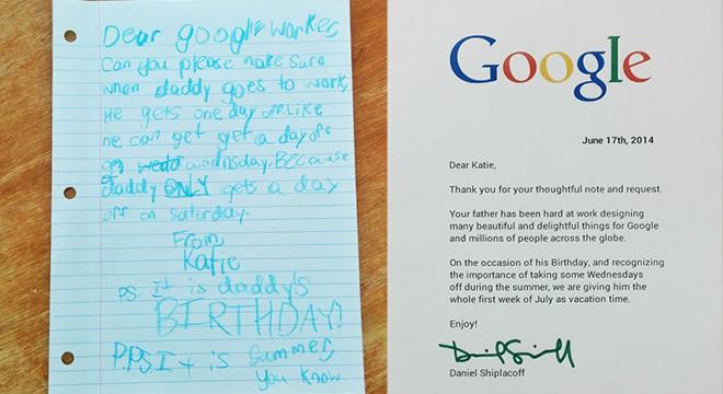 غوغل تمنح موظف إجازة أسبوع بسبب ابنته