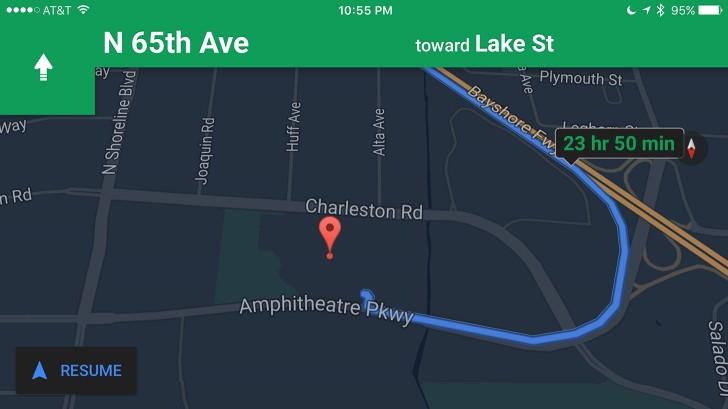 جوجل توفر ميزة الوضع الليلي لتطبيق Google Maps على أي أو إس