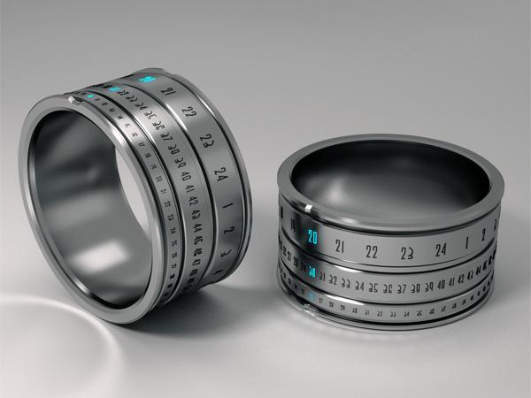 ساعة رقمية ضوئية في خاتم